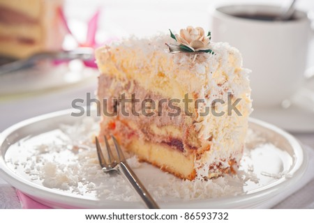 Coconut cake with vanilla and chocolate cream - stock photo