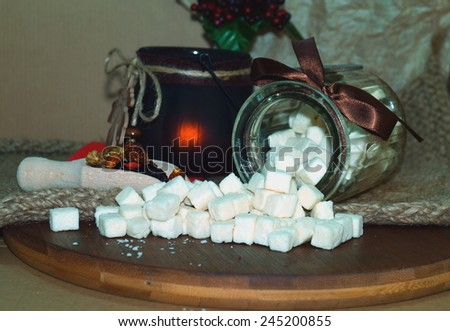 Coconut candy - cut into cubes - stock photo