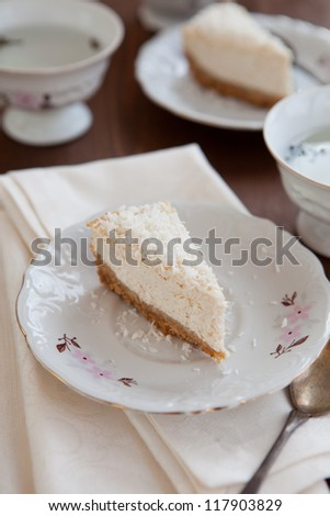 Coconut cheese cake - stock photo