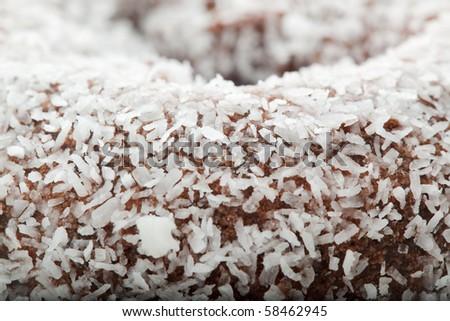 Coconut chocolate doughnut - stock photo