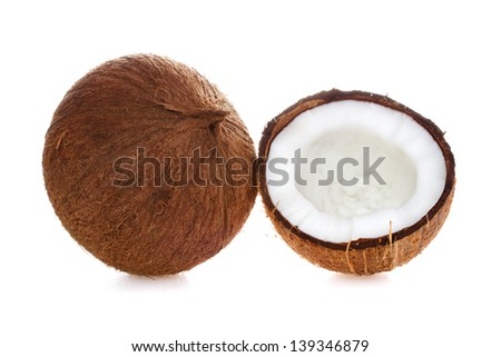 Coconut. Coconut isolated on white Background - stock photo