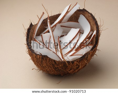 coconut Coconut on color background - stock photo