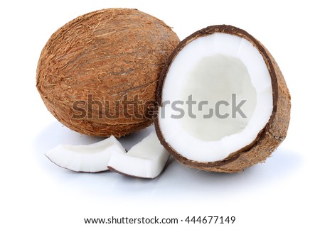 Coconut coconuts fruit fresh fruits isolated on a white background - stock photo