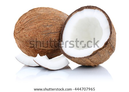 Coconut coconuts fruit half fruits isolated on a white background - stock photo