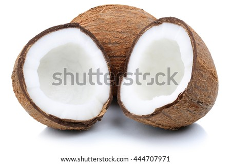 Coconut coconuts fruit sliced half fruits isolated on a white background