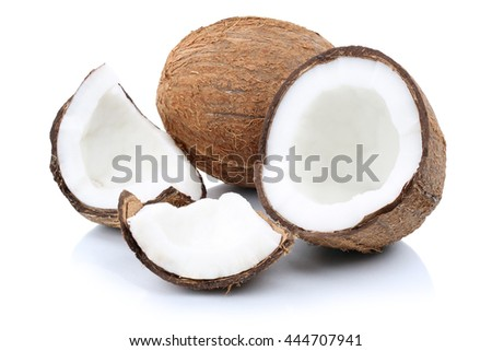 Coconut coconuts fruit sliced portion fresh fruits isolated on a white background