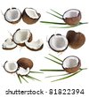Coconut collection isolated on a white background - stock photo