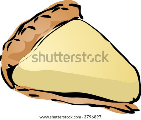 Coconut cream Pie, hand drawn retro illustration - stock photo