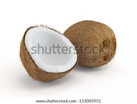 Coconut cut in half on white background - stock photo