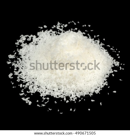 Coconut Flakes Isolated on Black Background