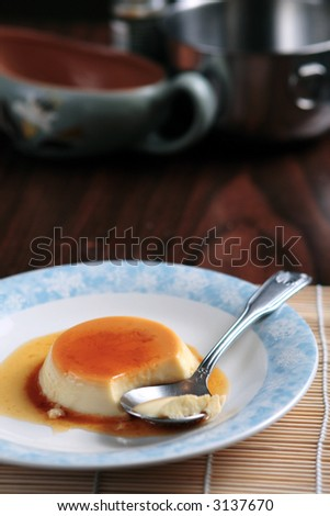 Coconut flan dessert on a table