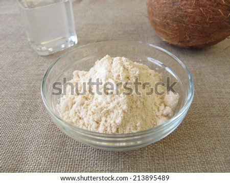 Coconut flour and coconut oil - stock photo