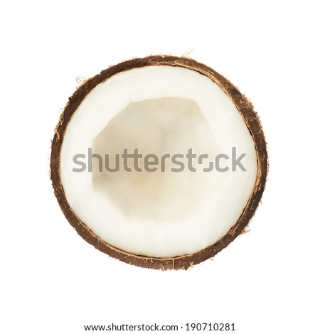 Coconut fruit cut in half isolated over the white background - stock photo