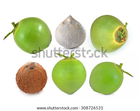 coconut Fruit isolated on white background. - stock photo