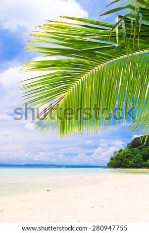 Coconut Getaway Island Lagoon  - stock photo