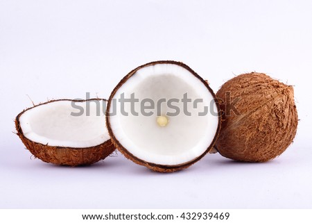 coconut half clipping path for coconut milk and brown coconut shell  on white background fruit food isolated - stock photo