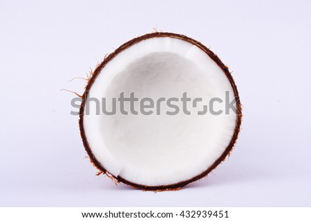coconut half clipping path for coconut milk  on white background fruit food isolated  - stock photo