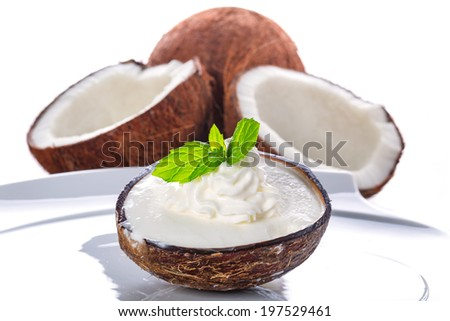 Coconut ice cream in coco shell