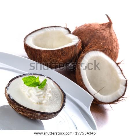 Coconut ice cream in coco shell - stock photo