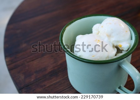 coconut ice-cream in vintage cup - stock photo