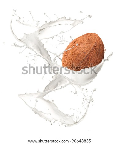 Coconut in milk splash, isolated on white background - stock photo