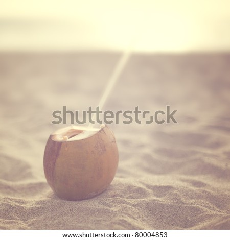 Coconut in the beach - stock photo