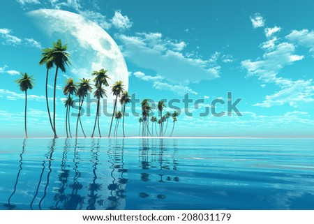 coconut island under moon at turquoise tropic sea toned image. - stock photo