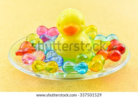 Coconut jelly in duck shape and colorful crystals