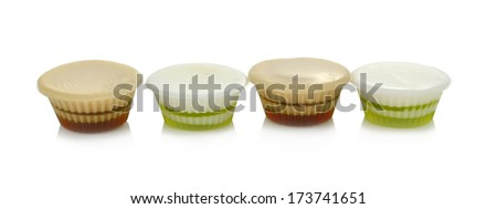 Coconut jelly on white background