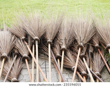 coconut leave broom - stock photo