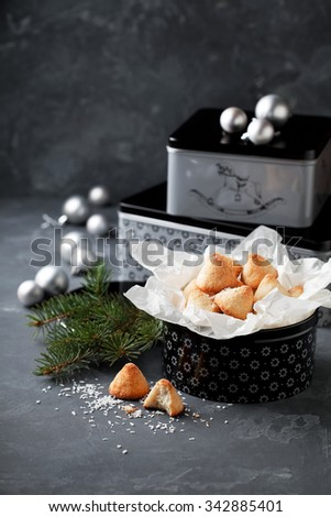 Coconut macaroon in gift box for Christmas, selective focus - stock photo
