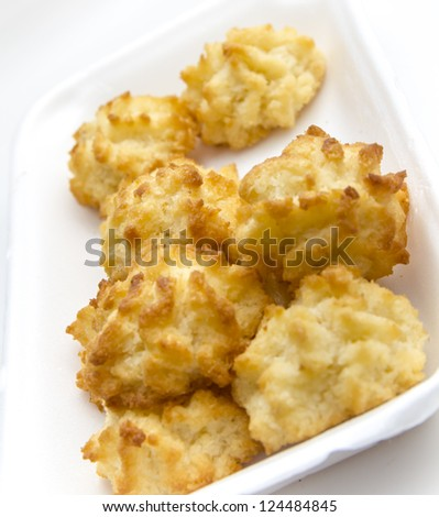 coconut macaroons in a white plate