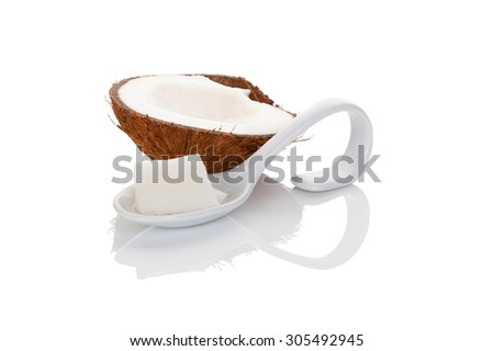 Coconut oil isolated on white background. Culinary, cosmetics, healthy cooking and eating, alternative medicine.  - stock photo