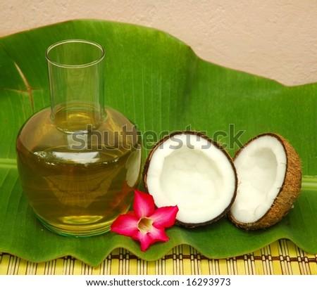 Coconut oil on banana leaf - stock photo