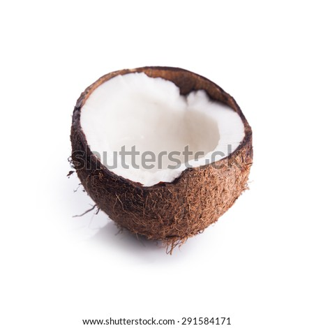 coconut on a white background close up image - stock photo