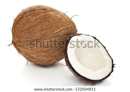 Coconut on white background. - stock photo