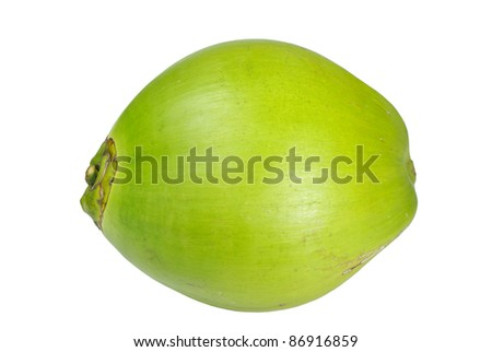 Coconut on white background, Side of coconut - stock photo