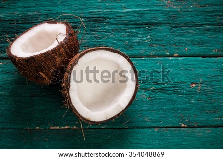 Coconut on wooden table.Organic healthy food concept.Beauty and SPA concept. - stock photo
