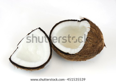 coconut open shells isolated on white background
