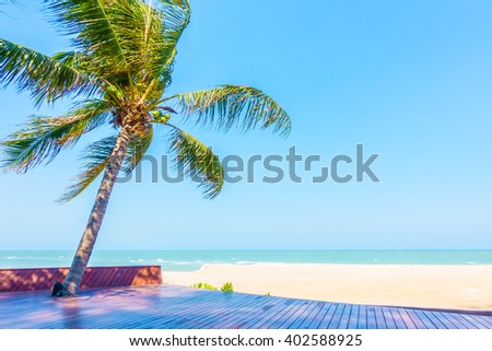Coconut palm tree on the beach and sea