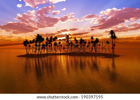 coconut palms at red sunset rays over tropic atoll - stock photo
