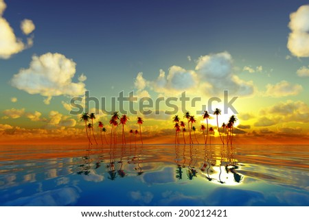 coconut palms at yellow sunset over tropic sea - stock photo