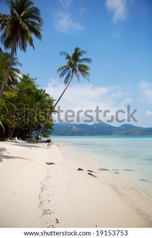 Coconut palms, white sand and beautiful transparent water lagoon