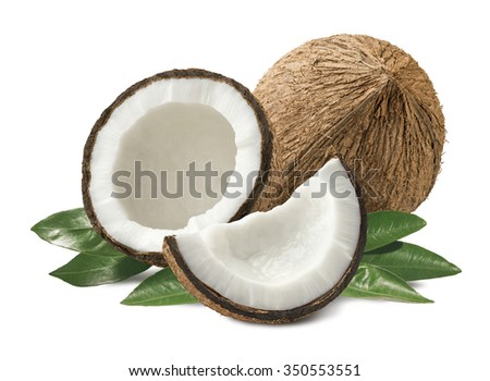 Coconut pieces composition with leaves isolated on white background as package design element - stock photo