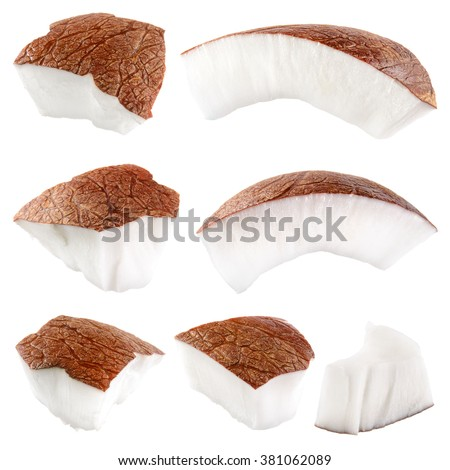 Coconut. Pieces isolated on a white background - stock photo