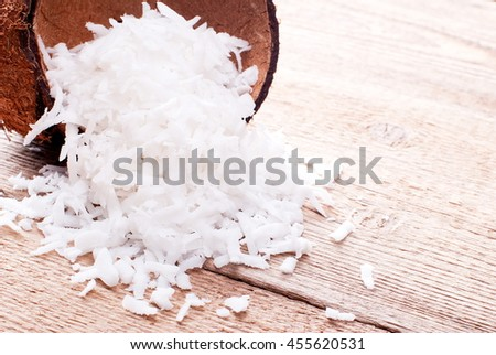 coconut shavings on the table