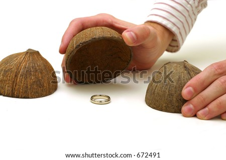 Coconut Shell Game - stock photo