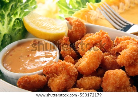 Coconut southern fried shrimp with cocktail sauce