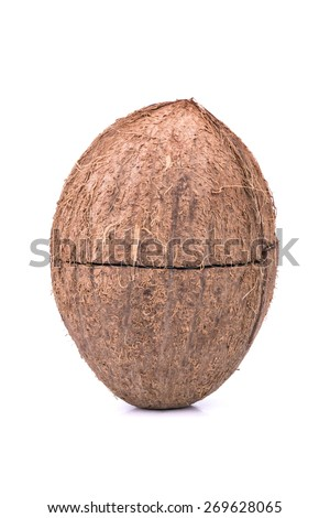 Coconut split in half isolated on a white background