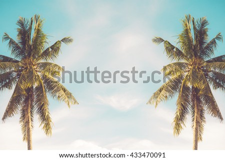 coconut tree at tropical coast,made with Vintage Tones - stock photo